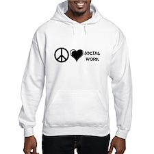 Peace,Love,Social Work Hoodie