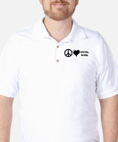 Peace,Love,Social Work Golf Shirt