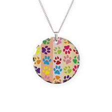 Colored Paw Prints Necklace Circle Charm