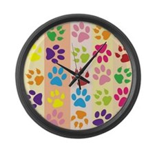 Colored Paw Prints Large Wall Clock