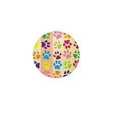 Colored Paw Prints Mini Button