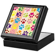 Colored Paw Prints Keepsake Box