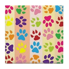 Colored Paw Prints Tile Coaster