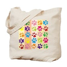 Colored Paw Prints Tote Bag