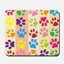 Colored Paw Prints Mousepad