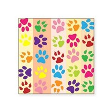 "Colored Paw Prints Square Sticker 3"" x 3"""