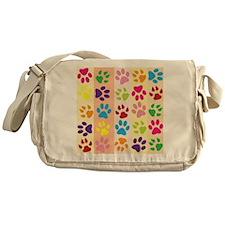 Colored Paw Prints Messenger Bag