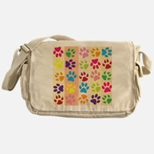 Colored Paw Prints Messenger Bag