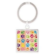 Colored Paw Prints Square Keychain