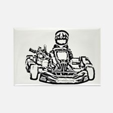 Kart Racer Dark Pencil Sketch Magnets