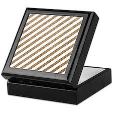 Gold/White Glitter Diagonal Mod Strip Keepsake Box