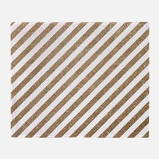Gold/White Glitter Diagonal Mod Stri Throw Blanket
