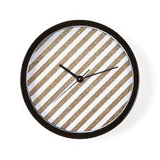 Gold/White Glitter Diagonal Mod Stripe Wall Clock