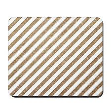 Gold/White Glitter Diagonal Mod Stripe Mousepad