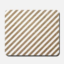 Gold/White Glitter Diagonal Mod Stripe Mousepad