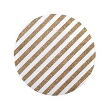 "Gold/White Glitter Diagonal Mod Stripe 3.5"" Button"