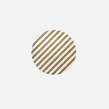 Gold/White Glitter Diagonal Mod Stripe Mini Button