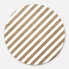 Gold/White Glitter Diagonal Mod S Round Car Magnet