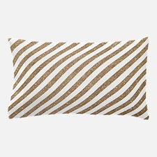Gold/White Glitter Diagonal Mod Stripe Pillow Case