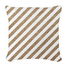 Gold/White Glitter Diagonal Mo Woven Throw Pillow