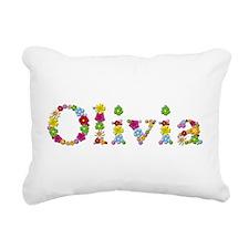 Olivia Bright Flowers Rectangular Canvas Pillow