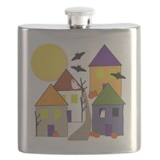 Haunted Halloween Village Flask