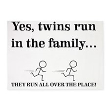 YES, TWINS RUN IN THE FAMILY 5'x7'Area Rug