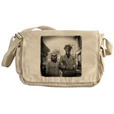 Black and White Freaky Vintage Coupl Messenger Bag