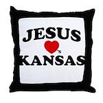 Jesus Loves Kansas Throw Pillow