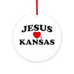 Jesus Loves Kansas Ornament (Round)