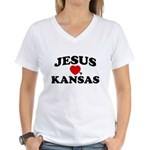 Jesus Loves Kansas Women's V-Neck T-Shirt