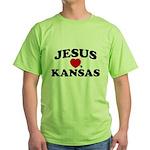 Jesus Loves Kansas Green T-Shirt