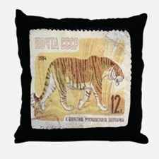 Russian Tiger Stamp Throw Pillow