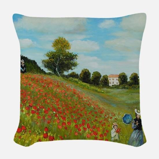 Poppy Field by Monet Woven Throw Pillow