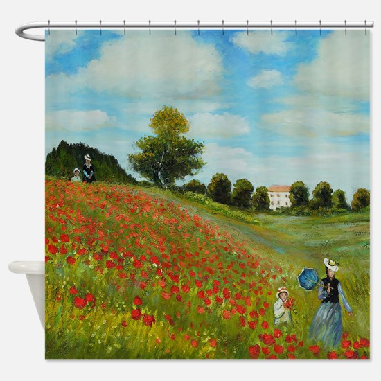 Poppy Field By Monet Shower Curtain
