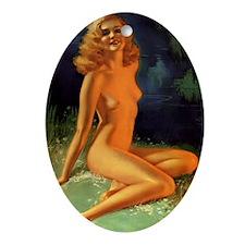 Erotic Nudity Illustrations Oval Ornament