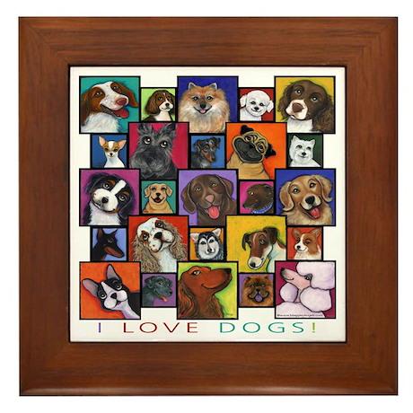 I Love Dogs! Framed Tile
