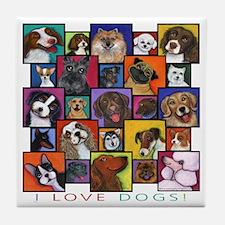I Love Dogs! Tile Coaster