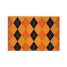 Halloween Cute Argyle Pattern Ora Rectangle Magnet