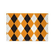 Halloween Cute Pattern Orange Bla Rectangle Magnet