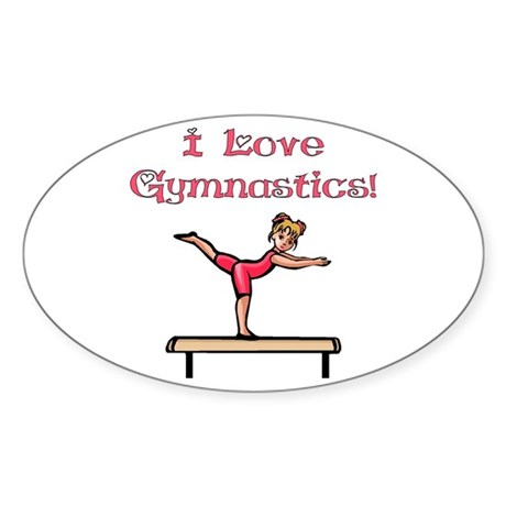 I Love Gymnastics Oval Sticker