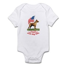 minpin with flag Infant Bodysuit