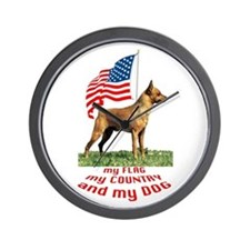 minpin with flag Wall Clock