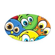 Cute Cartoon Birds Oval Car Magnet