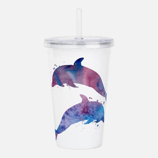 Dolphins Acrylic Double-wall Tumbler