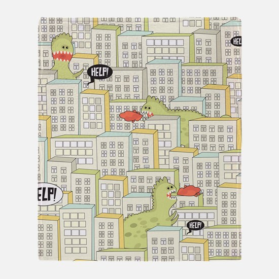 Monsters Attack City Throw Blanket
