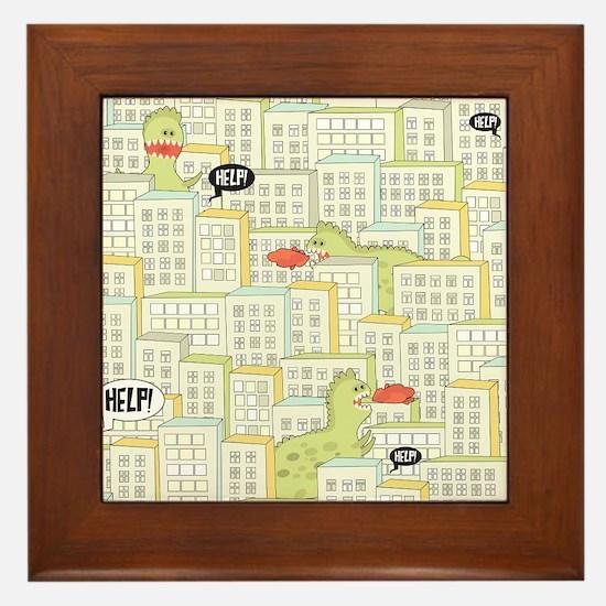 Monsters Attack City Framed Tile