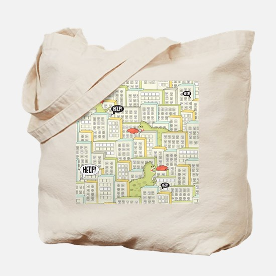 Monsters Attack City Tote Bag
