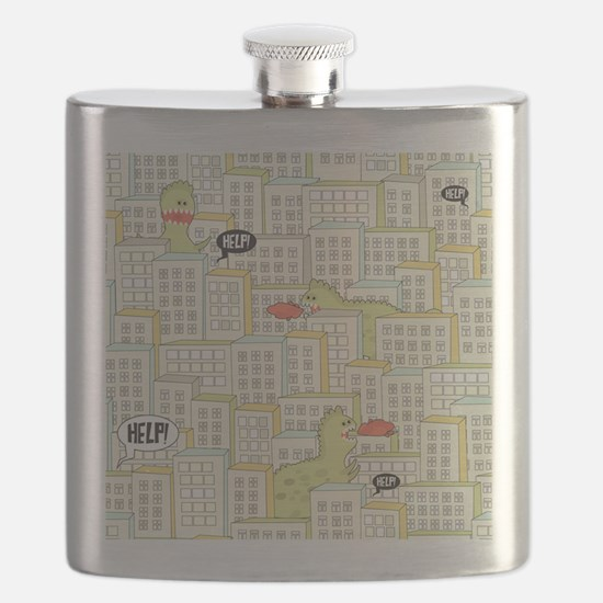 Monsters Attack City Flask