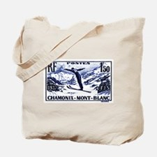 1938 France Skii Competition Postage Stamp Tote Ba
